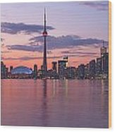 Skyline At Dusk From Centre Island Wood Print