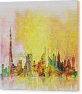Skyline Collage  Wood Print