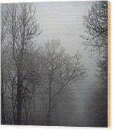 Skyline Drive In Fog Wood Print