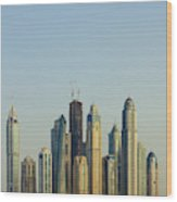 Skyline Of Buildings Around The Dubai Wood Print