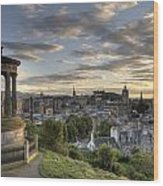 Skyline Of Edinburgh Scotland Wood Print