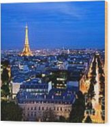 Skyline Of Paris Wood Print
