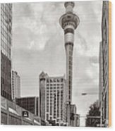 Sky Tower's Queen St Couple.nz Wood Print