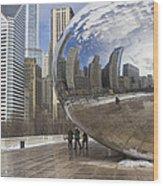 Skyline Reflected Wood Print