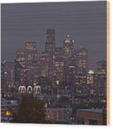 Skylines At Dusk, Seattle, King County Wood Print