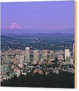 Skylines In A City With Mt Hood Wood Print