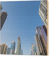 Skyscrapers Along Sheikh Zayed Road Wood Print