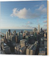 Skyscrapers In A City, Chicago, Cook Wood Print