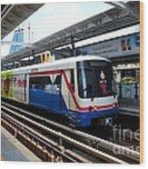 Skytrain Carriage Metro Railway At Nana Station Bangkok Thailand Wood Print