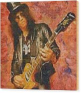 Slash Shredding On Guitar Wood Print