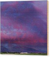 Slc Sunset Panorama Wood Print
