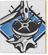 Sledgehammer Striking 45lb Weight Anvil Retro Wood Print by Aloysius Patrimonio