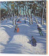 Sledging At Ladmanlow Wood Print by Andrew Macara
