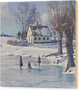 Sledging On A Frozen Pond Wood Print