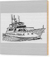 Sleek Motoryacht Wood Print