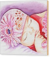 Sleeping Baby Wood Print by Irina Sztukowski