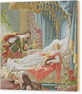 Sleeping Beauty And Prince Charming Wood Print