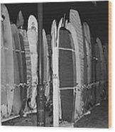 Sleeping Surfboards Wood Print
