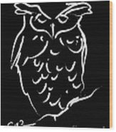 Sleepy Owl Wood Print