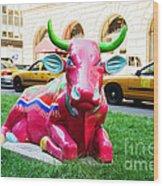 Cow Parade N Y C 2000 - Sleepy Time Cow Wood Print