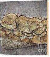 Sliced Pizza With Eggplants Wood Print