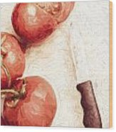 Sliced Tomatoes. Vintage Cooking Artwork Wood Print