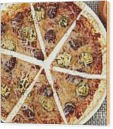 Sliced Tortilla Pizza Wood Print