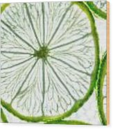 Slices Lime. Wood Print by Slavica Koceva