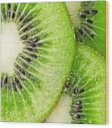 Slices Of Juicy Kiwi Fruit Wood Print