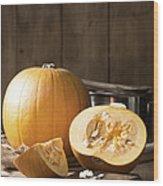 Slicing Pumpkins Wood Print