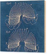 Slinky Toy Blueprint Wood Print
