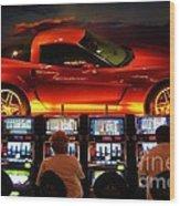 Slots Players In Vegas Wood Print
