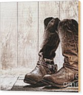 Slouch Cowboy Boots Wood Print