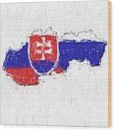 Slovakia Painted Flag Map Wood Print