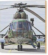 Slovakian Mi-17 With Digital Camouflage Wood Print