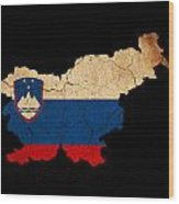 Slovenia Grunge Map Outline With Flag Wood Print