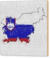 Slovenia Painted Flag Map Wood Print