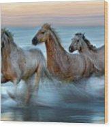 Slow Motion Horses Wood Print