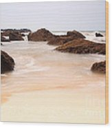 Slow Shutter Sea Around Rocks Wood Print