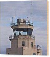 Small Air Traffic Control Tower Man Behind Glass Wood Print
