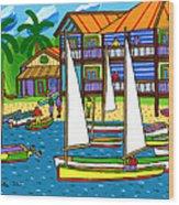 Small Boat Regatta - Cedar Key Wood Print