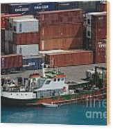 Small Boat With Cargo Containers Wood Print