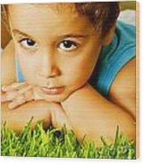 Small Boy On Green Grass Wood Print
