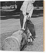 Small Boy Totes Heavy Golf Bag Wood Print