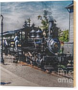 Small Boy Waiting For Steam Engine Wood Print by Janice Sakry
