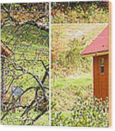 Small Cabin In Stereo Wood Print