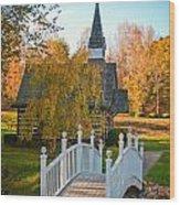 Small Chapel Across The Bridge In Fall Wood Print
