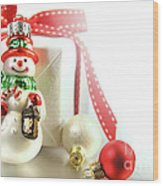 Small Christmas Ornament With Gift Wood Print