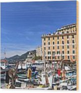 small harbor in Camogli. Italy Wood Print