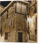 Small House In Albarracin At Night Wood Print